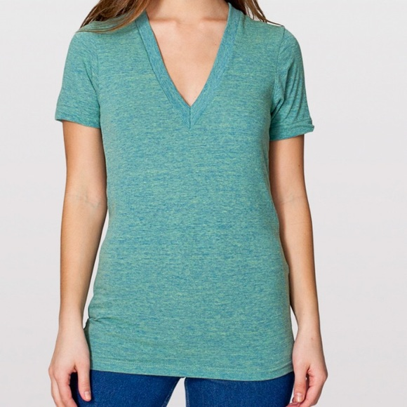 American apparel (old version) tri-green v-neck
